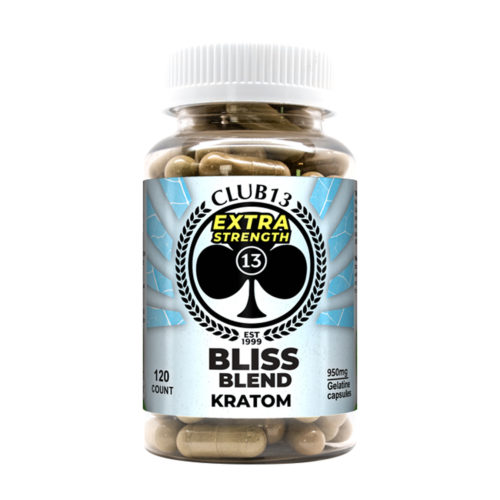 A bottle of Club13 Extra Strength Bliss Blend Kratom Capsules