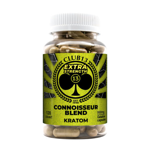 A bottle of Club13 Extra Strength Connoisseur Blend Capsules