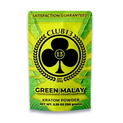 A bag of Club13 Green Malay Kratom Powder 150 Grams