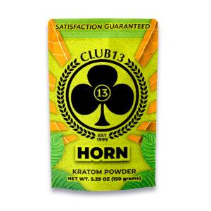 A bag of Club13 Horn Kratom Powder 150 Grams