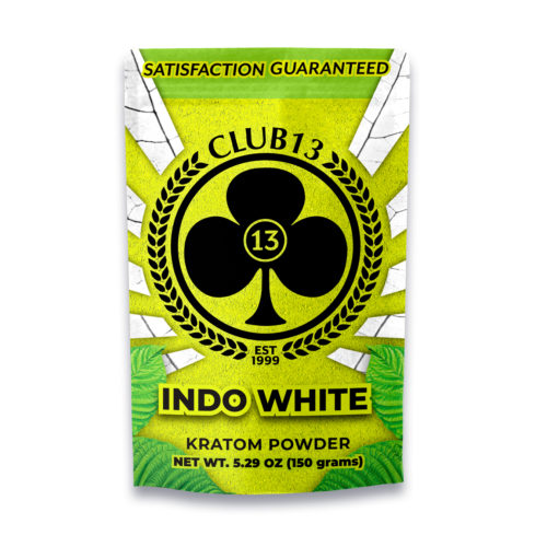 A bag of Club13 Indo White Kratom Powder 150 Grams