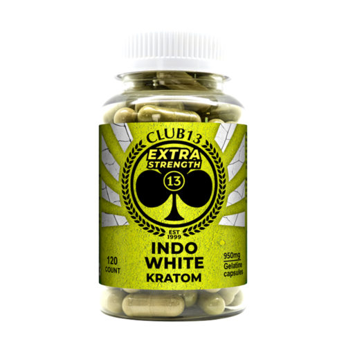 A bottle of Club13 Extra Strength Indo White Capsules