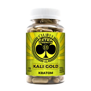 A bottle of Club13 Extra Strength Kali Gold Capsules