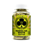 A bottle of Club13 Maeng Da White Kratom Capsules
