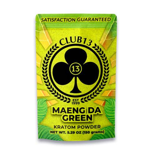 A bag of Club13 Maeng Da Green Kratom Powder 150 Grams