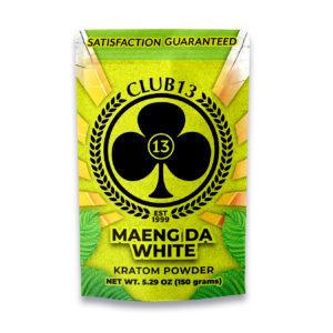 A bag of Club13 Maeng Da White Kratom Powder 150 Grams